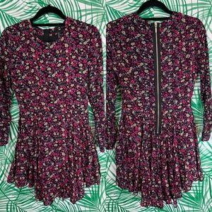 H&M floral exposed zipper skater dress sz 8
